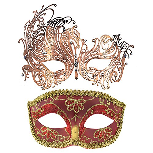 (2 Pack Couple's Venetian Masks Set Masquerade Carnival Mardi Gras Ball Mask (Rose)