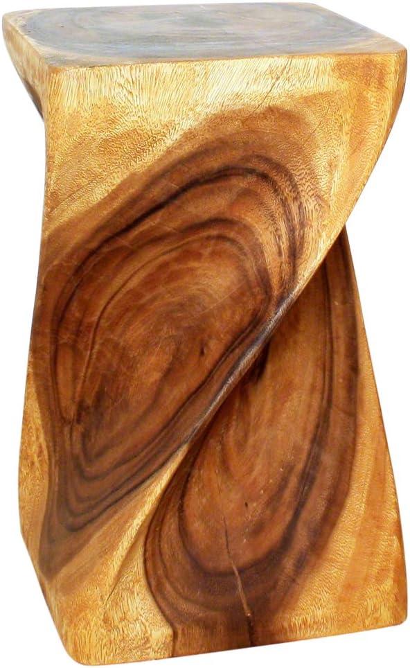 Haussmann Handmade Wood Big Twist Stool 12 in SQ x 20 in High Oak Oil