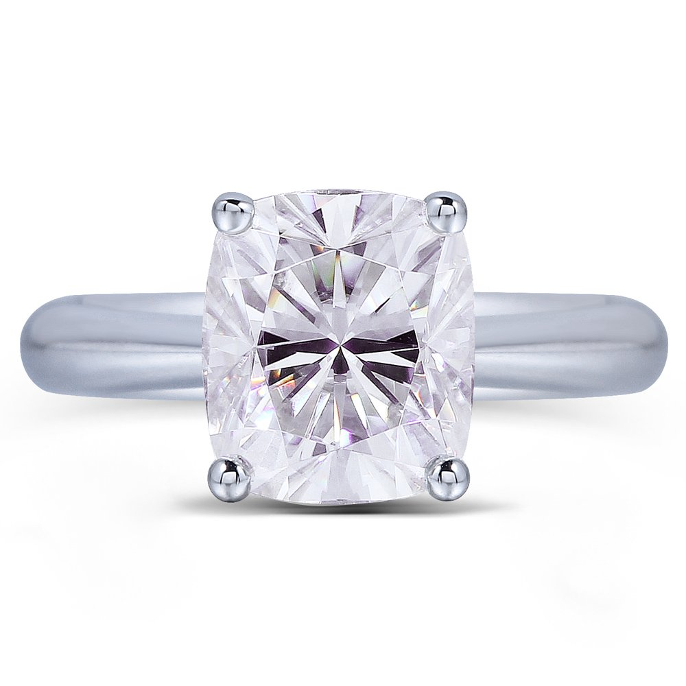 TransGems Platinum Plated Silver,2ct G Color Cushion Moissanite Engagement Solitaire Rings for Women (6)