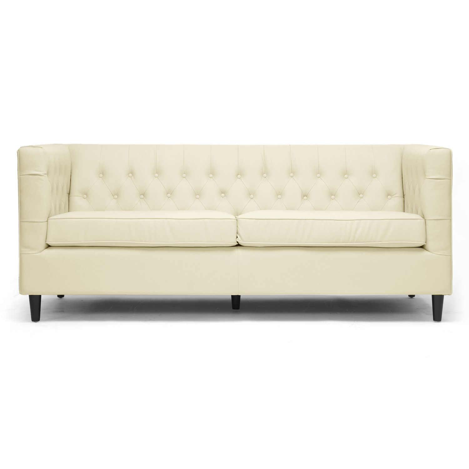 Amazon Baxton Studio Darrow Modern Leather Sofa Cream