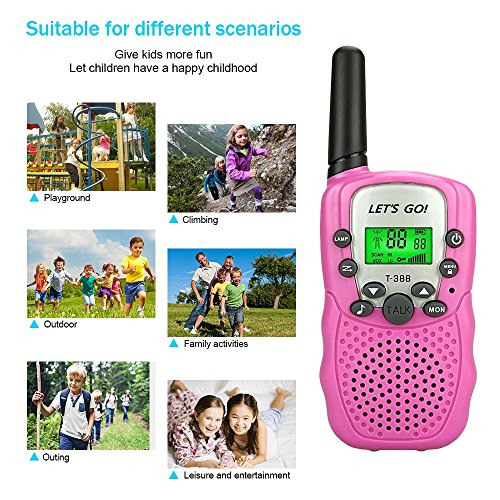 My-My Presents for Girls, Two-Way Radio Long Range Mini Walkie Talkies Outdoor Camping Toys for Girls Girls Toys Age 3-12 Gifts for 3-12 Year Old Boys Girls Pink DS06