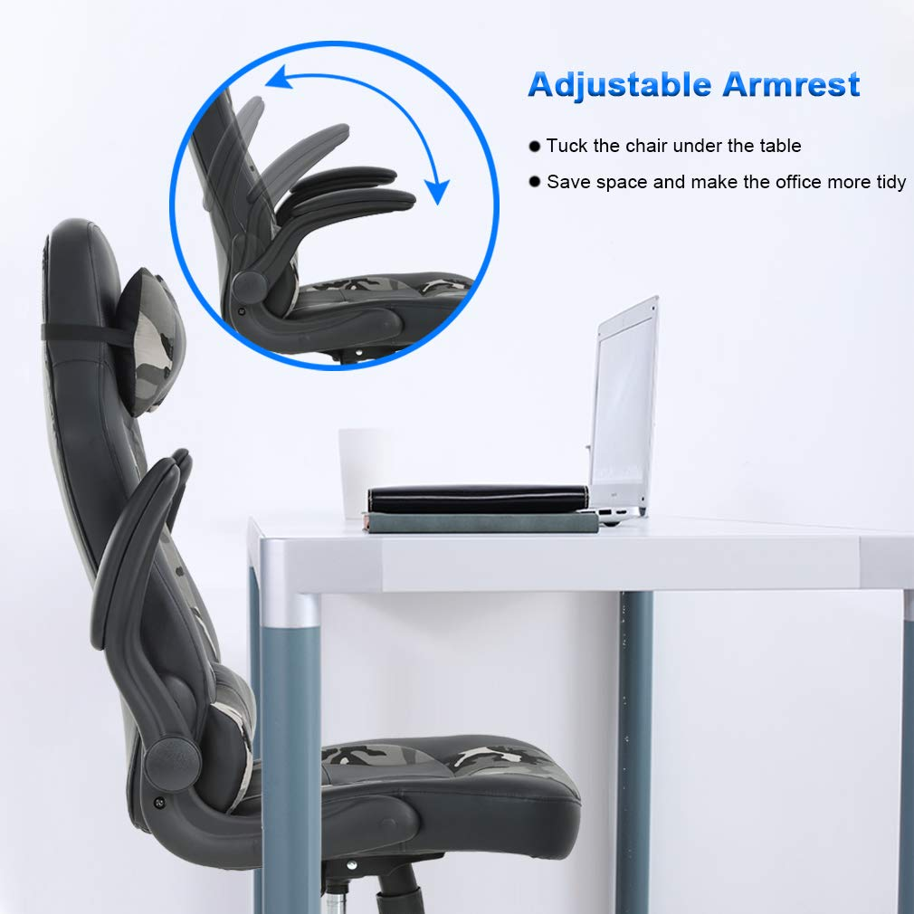 PC Gaming Chair Ergonomic Office Chair Desk Chair PU Leather Racing Chair Executive Swivel Rolling Computer Chair with Lumbar Support Flip Up Arms Headrest for Adults,Camo by BestOffice (Image #6)