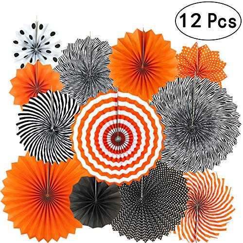 Black Orange Party Hanging Paper Fans Party Ceiling Hangings Halloween Baby Shower Birthday Wedding Party Decorations, 12pc ()