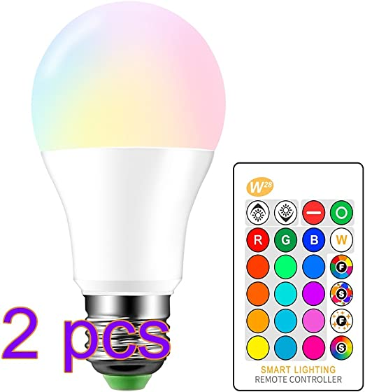 10W RGBW LED Bulb, 2pcs E27 Color Changing LED Lamp Flash