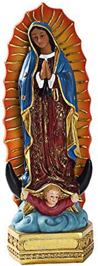 Sculpture Religious Our Lady of Guadalupe Virgin Mary Grotto Figure, Home and Garden Decoration Statue, Resin Sculpture Collectible Ornaments,A