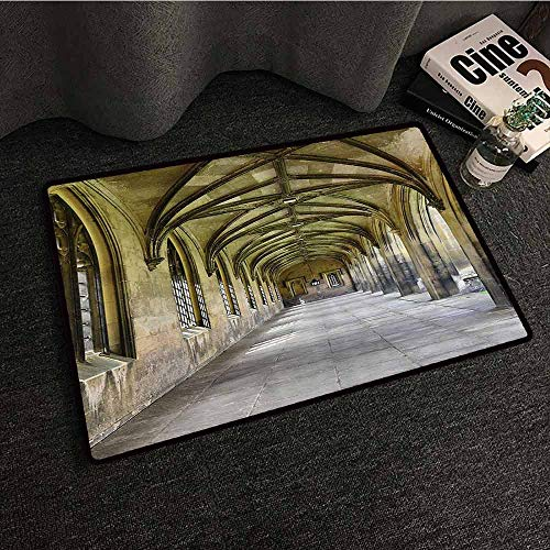 Apartment Decor Collection Welcome Door mat Paved Stone Walkway with Gothic Arches Receding Into Distance Arched Windows Portals Super Absorbent mud W35 xL47 Charcoal