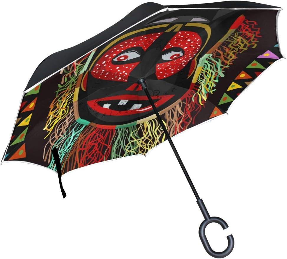 Mnsruu Paraguas invertido de Doble Capa con máscara de Flecos africanos, Paraguas Plegable Resistente al Viento, protección UV para Uso en Coche, Lluvia al Aire Libre con Mango en Forma de C