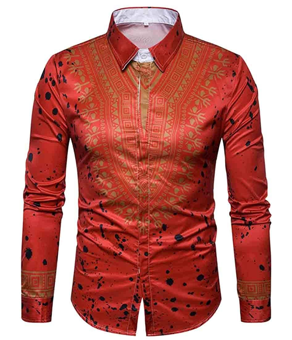 Lutratocro Mens Long Sleeve Slim Fit Turn Down African Printed Tops Button Down Shirts