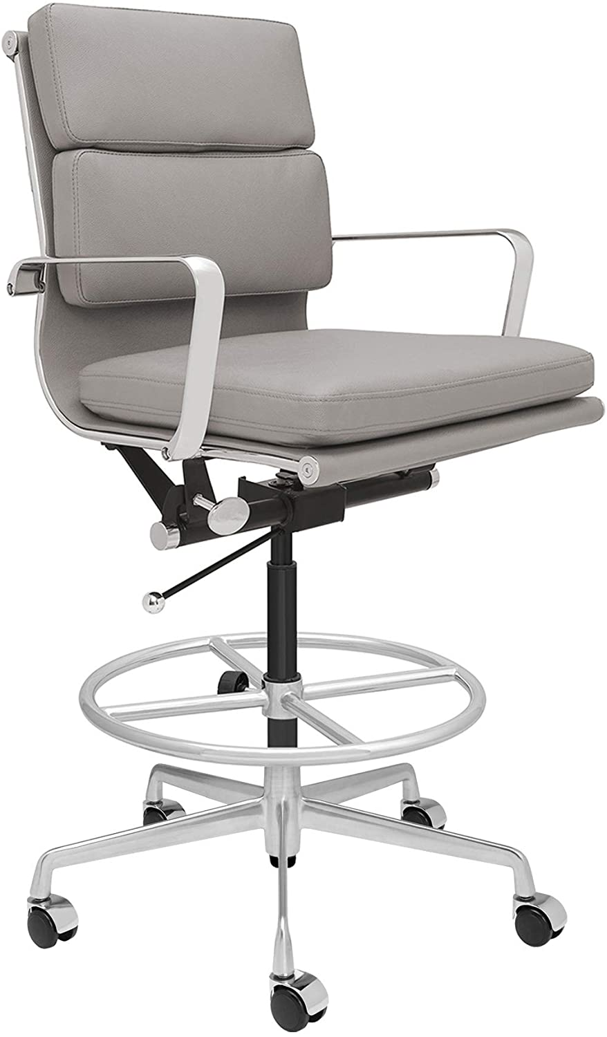SOHO Soft Pad Drafting Chair - Ergonomically Designed and Commercial Grade Draft Height for Standing Desks (Grey)