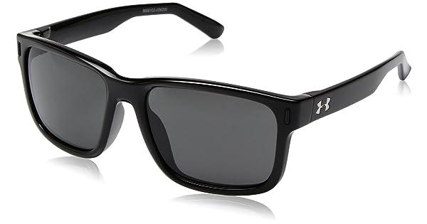 7c7cd94bb1de Under Armour UA Rookie Square Sunglasses, UA Rookie Shiny Black Frame /  Gray Lens, YOUTH