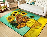 RUIKA Sunflower By Vincent Van Gogh Soft Rugs Area Rug Dining Room Home Bedroom Carpet Non-Slip Floor Mat 60 x 39 inches