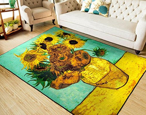 RUIKA Sunflower By Vincent Van Gogh Soft Rugs Area Rug Dining Room Home Bedroom Carpet Non-Slip Floor Mat 60 x 39 inches by ruika