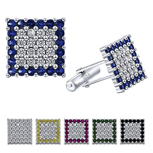 (Men's Sterling Silver .925 Original Design Square Cufflinks with Cubic Zirconia (CZ) Stones, Surrounded by Simulated Sapphire Stones, Platinum Plated, Secure Solid Hinges, 15 mm Square.)