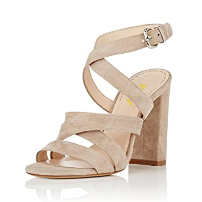 03e95be10bab YDN Women Chunky High Heel Strappy Sandals Open Toe Slingback Dress Party  Shoes Beige 04