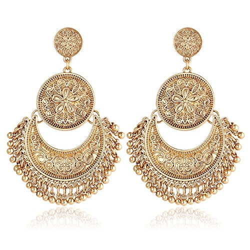 Rinhoo Vintage Bohemian Ethnic Tassel Large Flower Punk Pearls Drop Dangle Earrings Women Girls Jewelry (Gold)