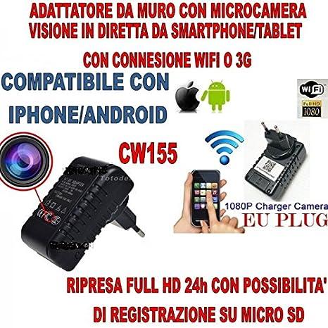 Compraevendi103 indicador Wifi Spy Camera alimentación enchufe Italia Cámara oculta Wifi detecta movimiento espía Sos de vídeo vigilancia Cimice móvil con ...
