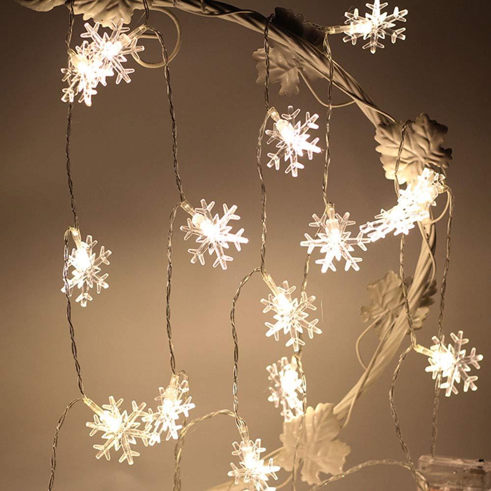 Luces de cuerda Luces de hadas LED Luces de copo de nieve de Navidad Funciona con pilas para la fiesta de Navidad Interior Jard/ín al aire libre Celebraci/ón Boda A/ño nuevo Blanco c/álido