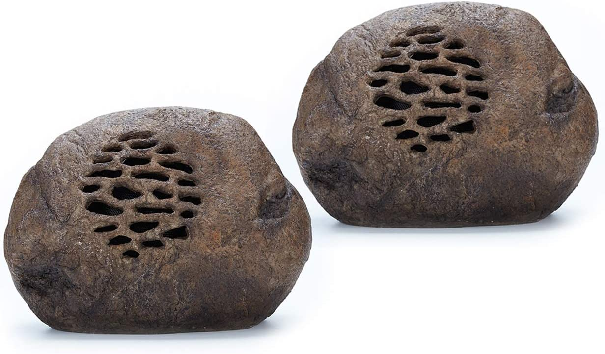 Solar Bluetooth Cobblestone Speaker Pair , Portable and Wireless for Outdoor use