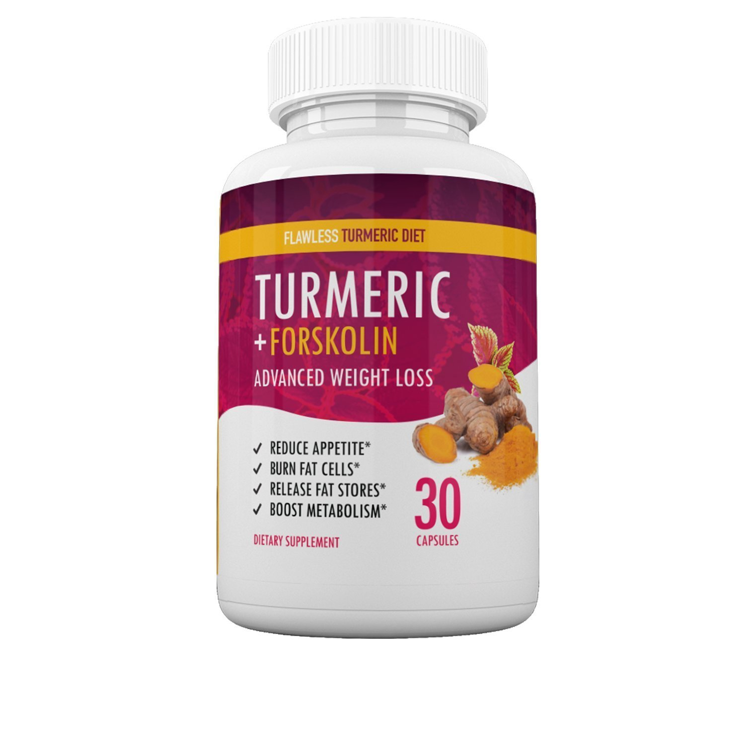 Flawless Turmeric Diet - Turmeric + Forskolin Advanced Weight Loss Formula - Suppress Appetite, Boost Metabolism, Burn Fat - 30 Day Supply