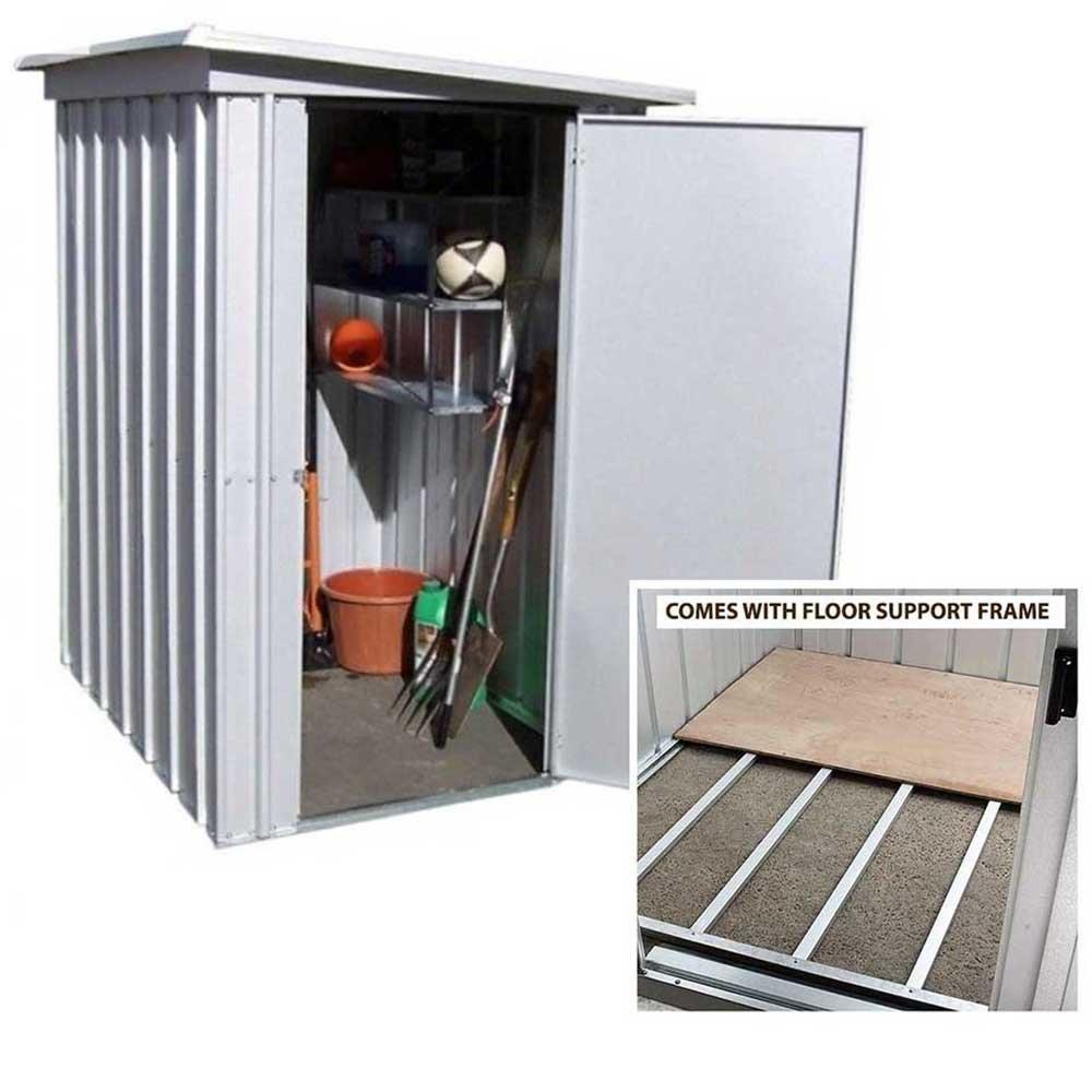 5 x 4 metal caseta de jardín con marco de soporte de suelo de acero Yardmaster: Amazon.es: Jardín