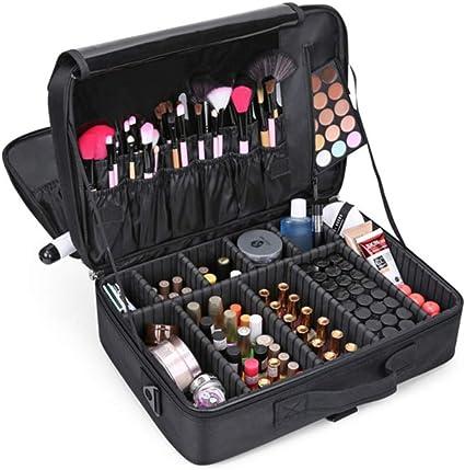 Caja de maquillaje Joyería Caja de cosméticos Estuche de tocador de belleza Caja de almacenamiento para organizador de herramientas de maquillaje (Negro, tres capas): Amazon.es: Belleza