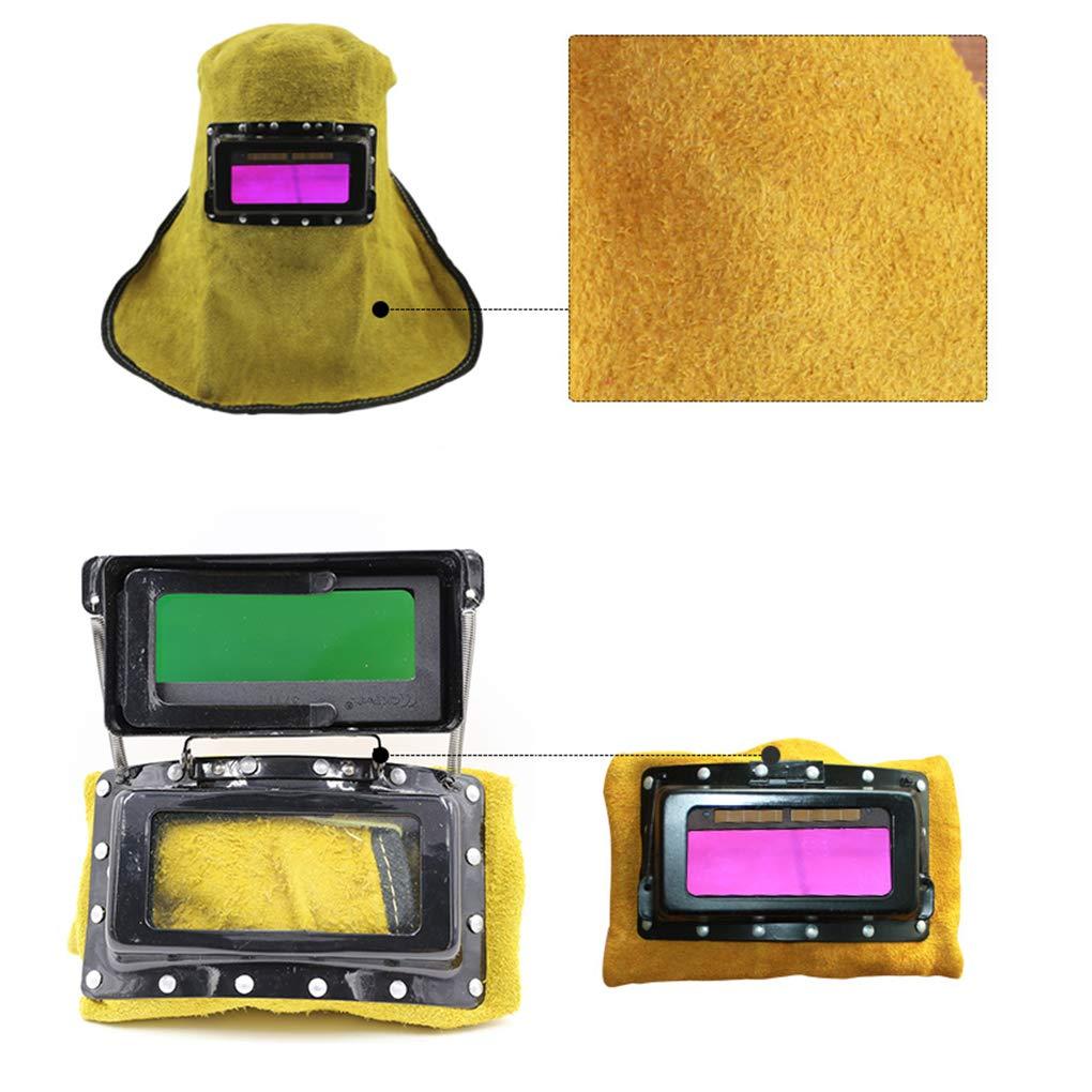 Forbestest Capot en Cuir Casque de soudage Automatique Masque Wilding Filtre Soudeur Protection S/écurit/é Casque Capot