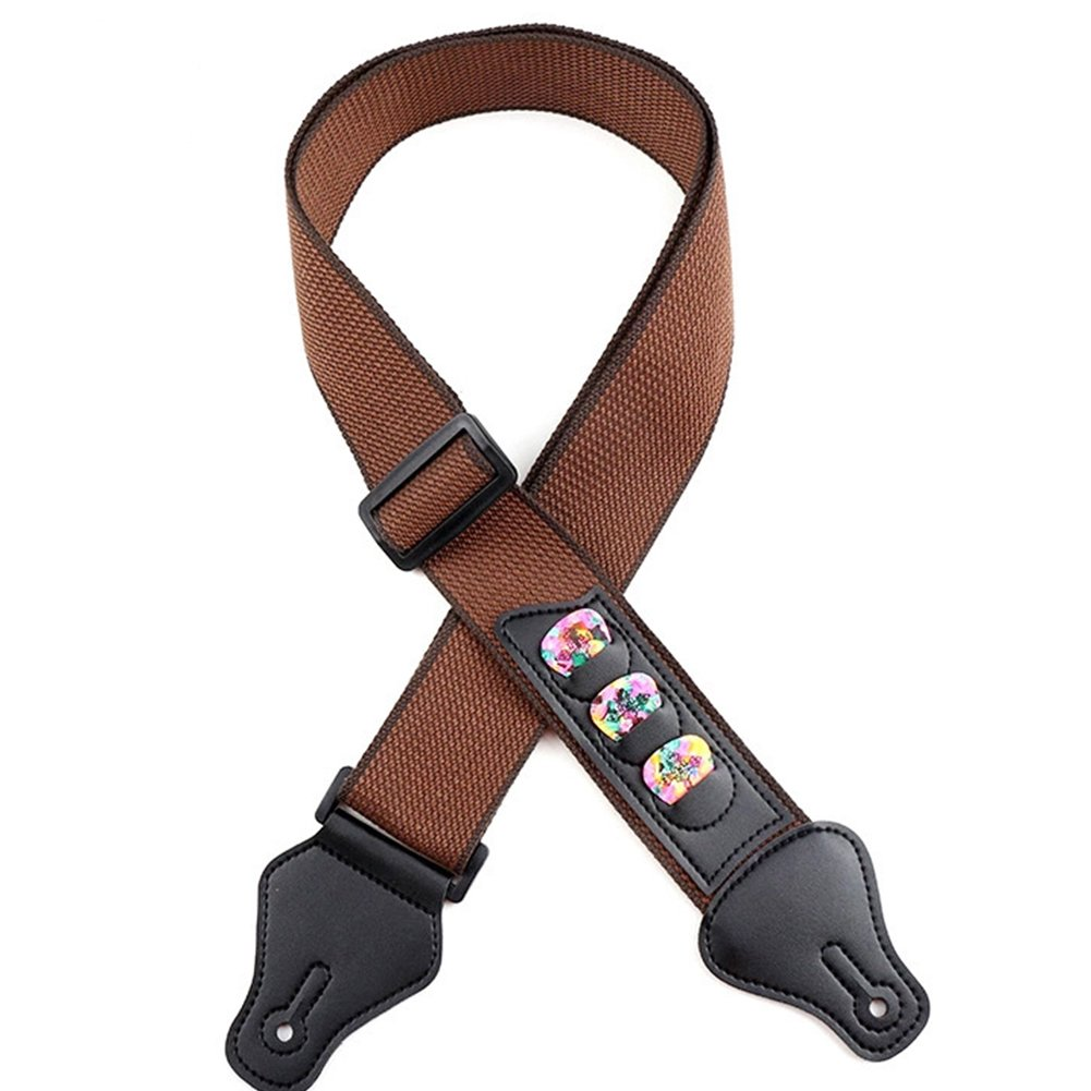 Guitar Strap Pure Cotton with 3 Pick Holders for Bass Electric Acoustic Guitar Adjusable Guitar Straps 1PC (Brown) Cotowin