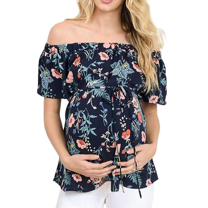 Blusa Embarazada para Premamá,ZARLLE Camiseta Premamá para ...