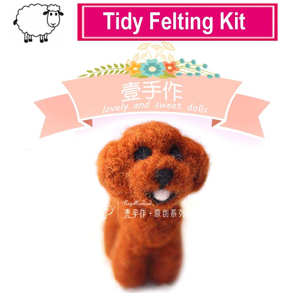 Artec360 Dog Needle Felting Kits Merino Wool Roving - Needles, Finger Guards, Foam Mat, Instructions Gift Wrap (E) ARTANM001