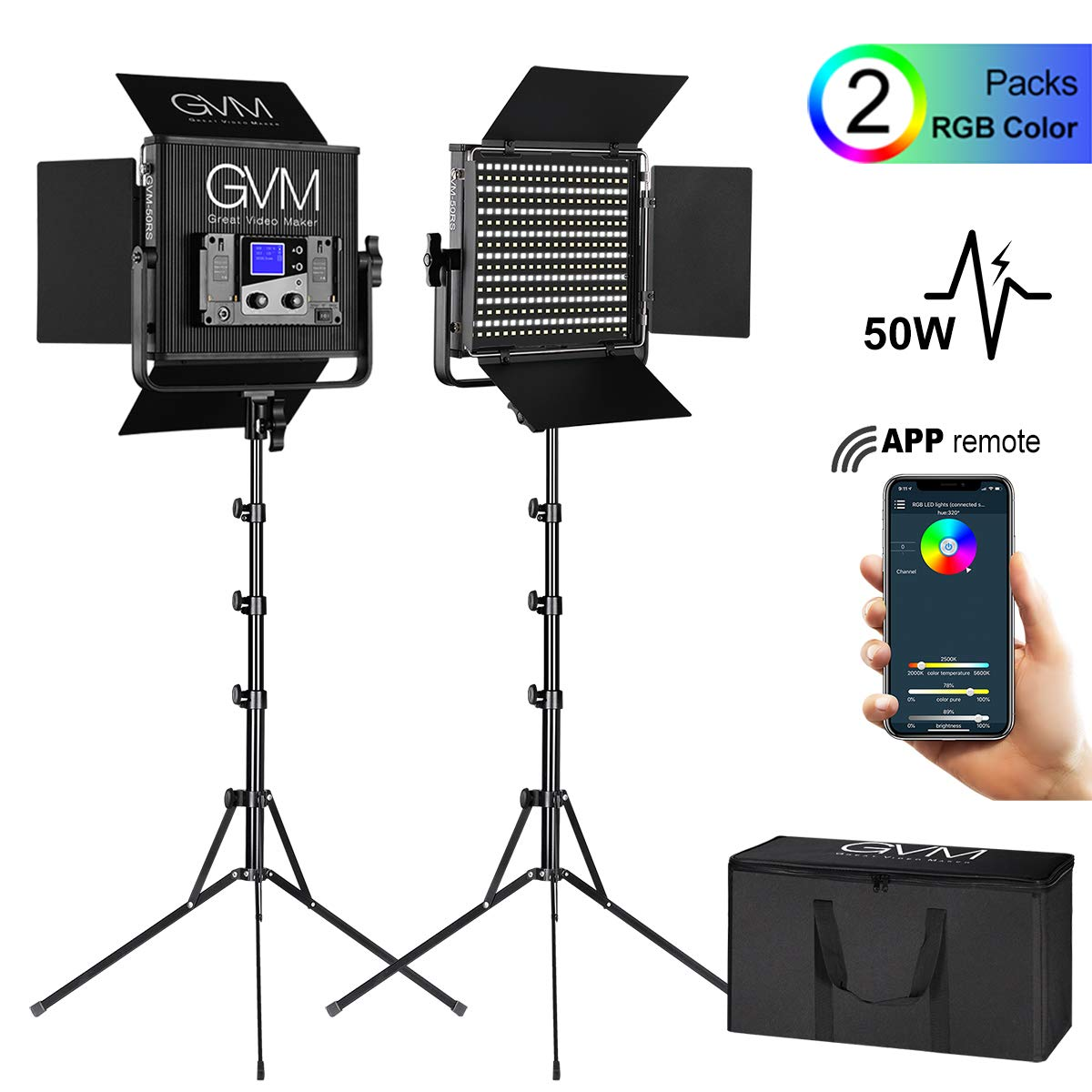 GVM 50RS RGB Video Lighting Kits with APP Control, 2 Pack CRI 97+ Dimmable Bi-Color/Full Color Output LED Photography Lights Panel with Barn-Door, Lighting for YouTube Studio Video Camera, 3200K-5600K by GVM Great Video Maker