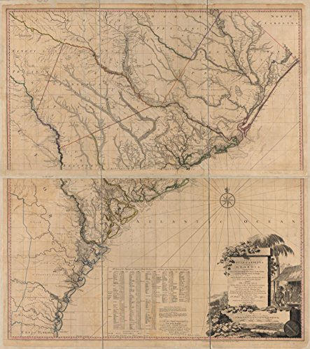 24 x 18 Reprinted Old Vintage Antique Map of: c.1780 A map of South Carolina and a Part of Georgia. Containing The Whole sea-Coast; All The Islands, inlets, Rivers, Creeks, parishes, townships, borou