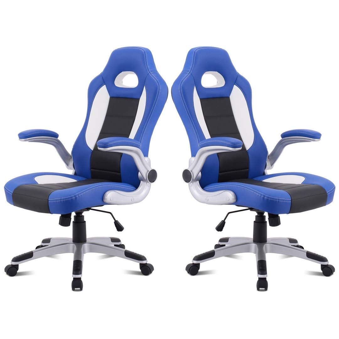Modern Executive High Back Racing Style Gaming Chairs 360-degree Swivel PU Leather Upholstery Thick Padded Seat Adjustable Armrest School Office Home Furniture - Set of 2 Blue #2129 by KLS14