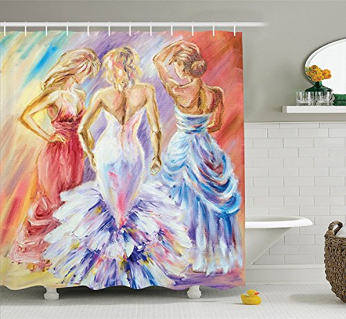 [Country Decor Collection Picture of Elegant Sophisticated Dressed Up Laides Women at the Ball Color Luxury Art Print Polyester Fabric Bathroom Shower Curtain Set with Hooks] (Animals Dressed Up In Halloween Costumes)