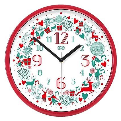 Blancho Bedding Feliz Navidad - Reloj de Pared silenciosa para no Hacer tictac del Reloj de