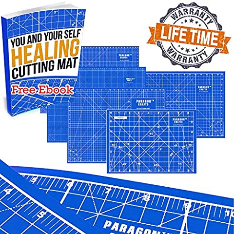 """Double Sided Self Healing Cutting Mat Board For Sewing, Quilting & Kids' Crafts – Durable Design With Handy Grids & Angles For Maximum Accuracy, Best Use With Rotary Cutter Blades - 8.5"""" x 6"""" – - Magnetic Circle Cutter"""