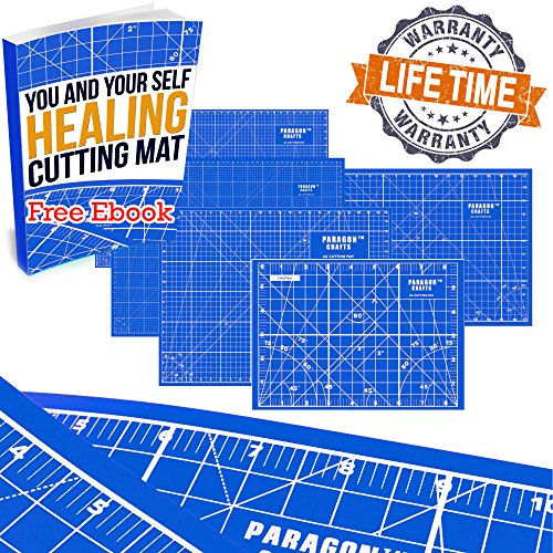 BEST FABRIC CUTTING BOARD Double Sided for Alluring Crafts Folks. Exquisite Design, Non-Slip Self Healing Mat Protects Work Surface & Crafts Tools. Best for Sewing, Quilting, Leather and Hobbies.