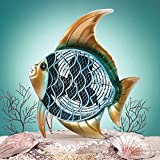 DecoBREEZE Table Fan Two Speed Electric Circulating Figurine Fan, 7 in, Tropical Fish