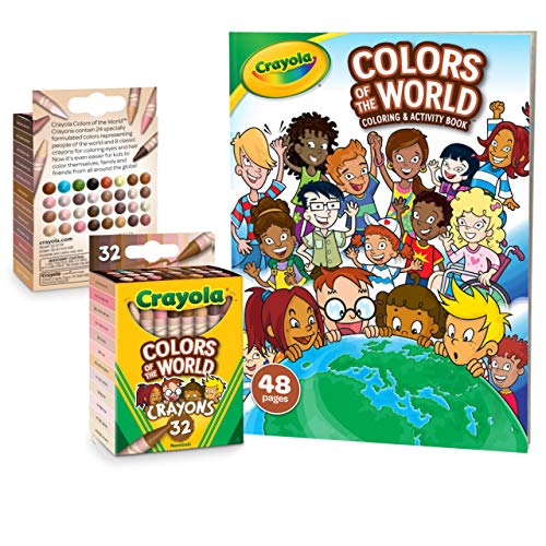 🥇 Crayola Colors of The World 48 Page Coloring & Activity Book with 32 Count Multicultural Crayons