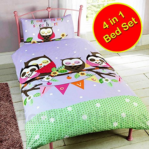 Goodnight Sweetheart Owls 4 in 1 Junior/Toddler Bedding Bundle Set (Duvet, Pillow and Covers)