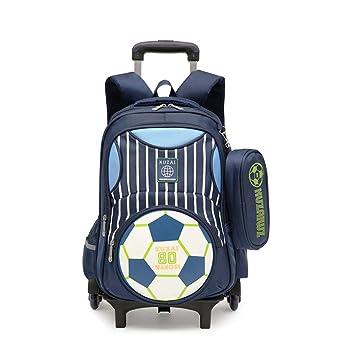 ZX Mochilas Escolar con Ruedas, Mochilas Infantiles con Carro, Trolley Bolso Ruedas Impresión de fútbol Mochila Casual Mochilas Rolling Daypack: Amazon.es: ...