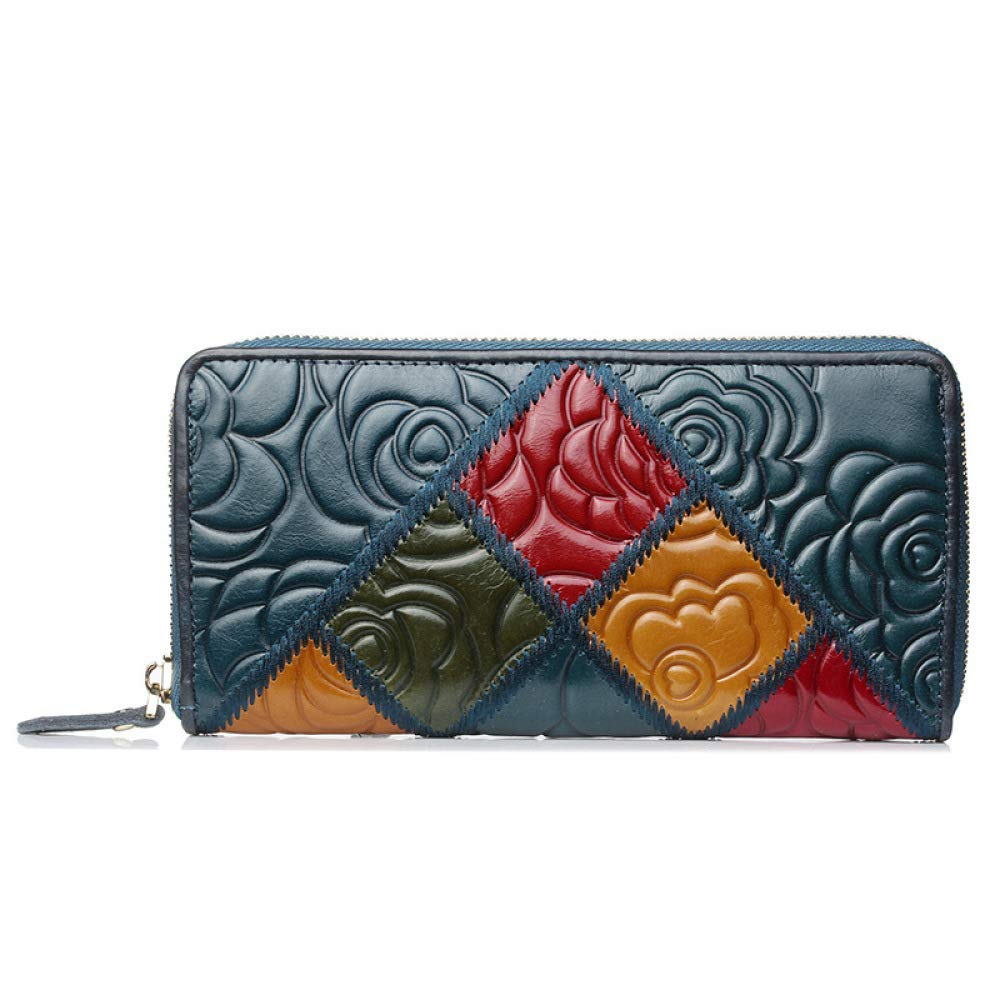 bluee Soft Women's Leather Wallet National Style MultiCard Fashion Zipper Handbag Purse Handbag (color   bluee)