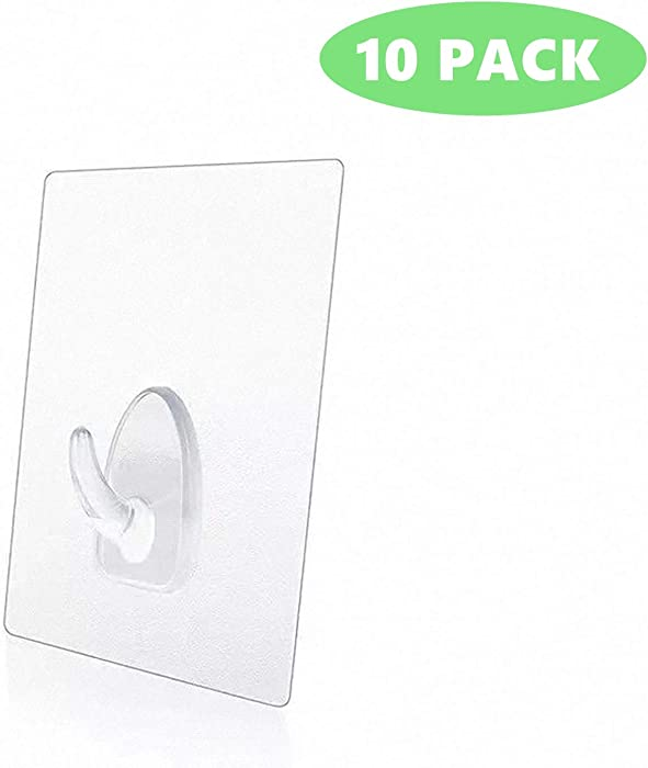 10 Packs 15lb(Max) Seamless Small Wall Hooks Adhesive Transparent Seamless Hooks Very Creative, Practical Hook For the Drill-free Wall