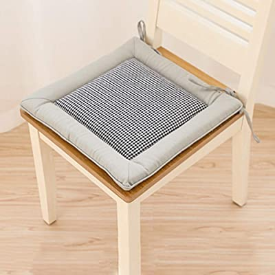 YUMUO Square Dining Chair Cushions,Office Chair Pads with Ties Soft Breathable Seat Cushion for Home Kitchen Patio Garden E 40x40cm(16x16inch): Home & Kitchen