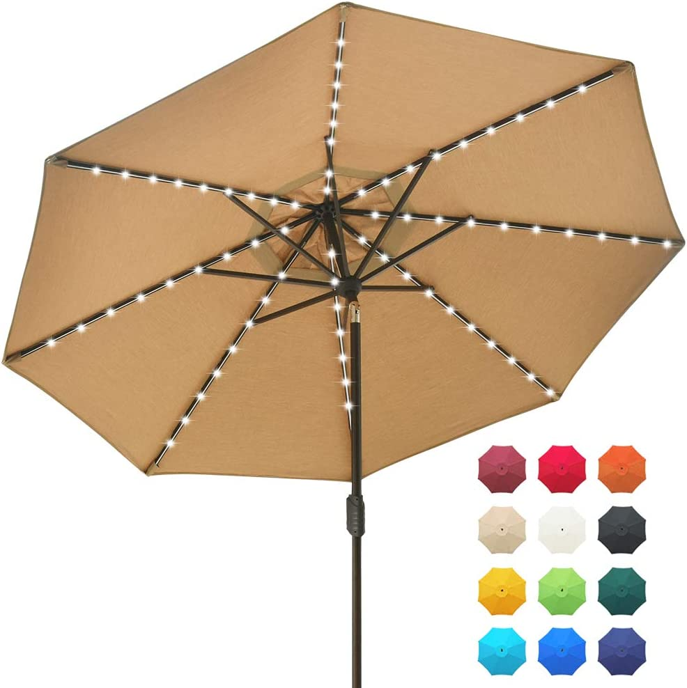 EliteShade Solar Umbrellas Acrylic 9ft Market Umbrella with 80 LED Lights Patio Umbrellas Outdoor Table Umbrella with Ventilation and 5 Years Non-Fading Guarantee,Heather Beige
