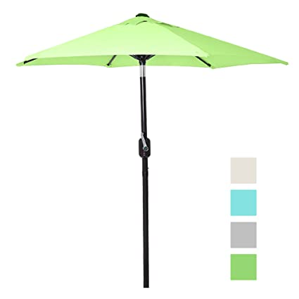 Beau 6 Ft Outdoor Patio Umbrella With Aluminum Pole, Easy Open/Close Crank And  Push