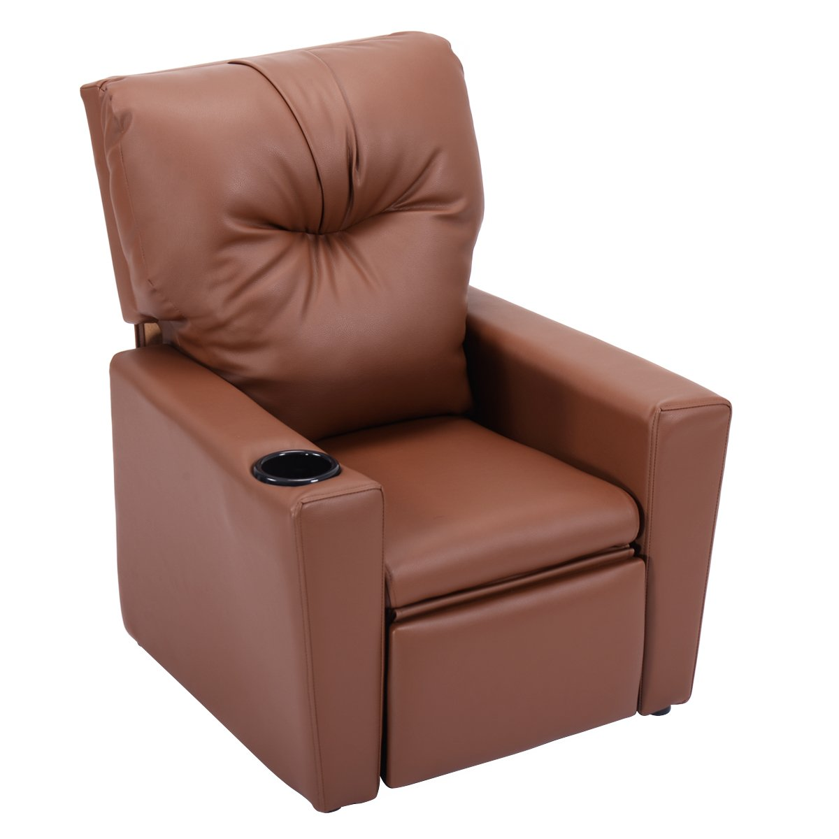 Costzon Kids Recliner Chair Manual PU Leather Reclining Seat w/Cup Holder (Brown)