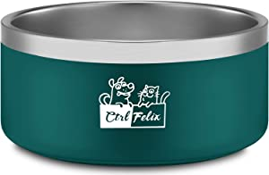 CtilFelix Dog Bowl Stainless Steel Dog Water Bowl Non-Slip Dog Food Bowls Pet Feeder Dish for Large Medium Small Dogs Cats, Holds 64 Ounces Large Portable Teal Green