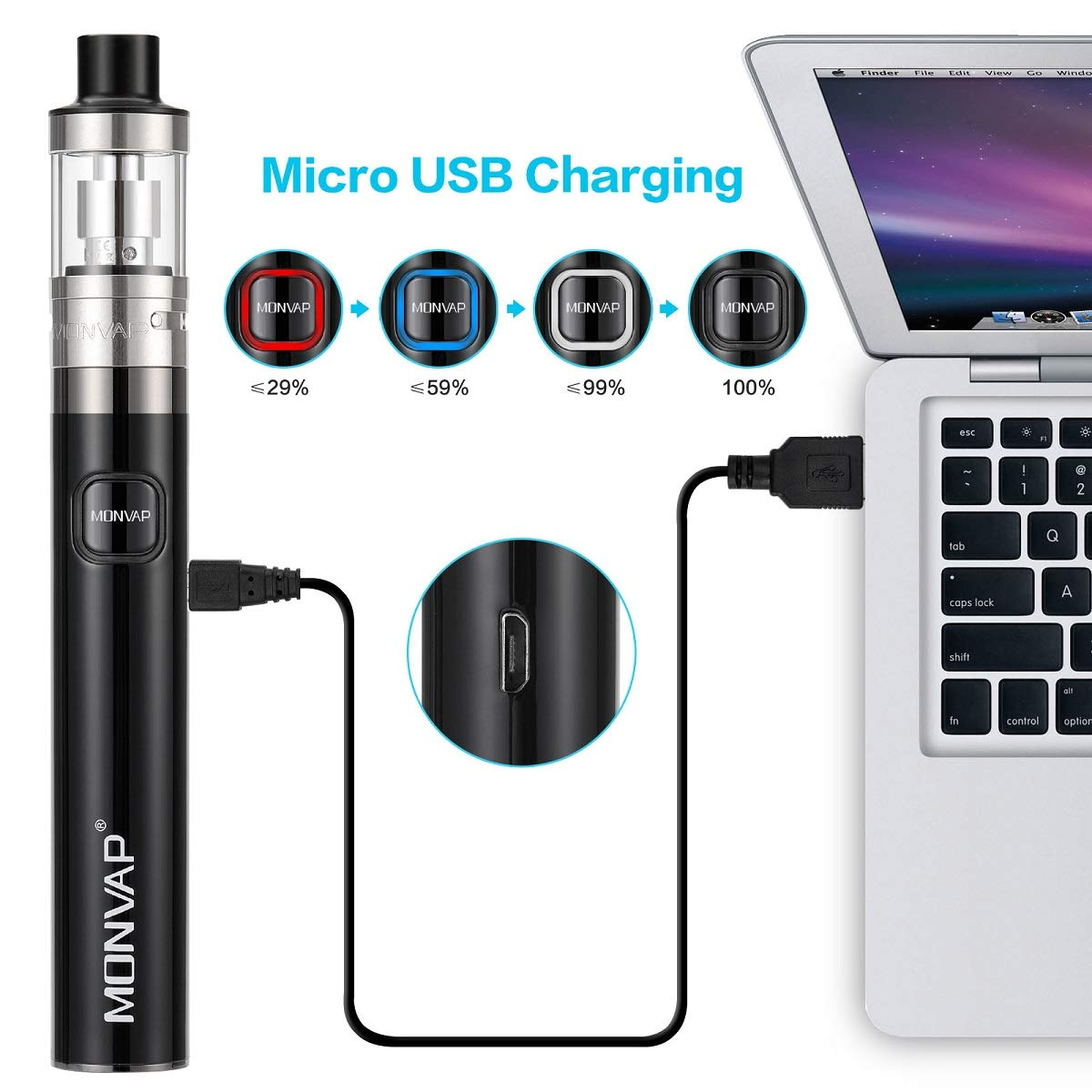 MONVAP 50W Vape Pen Starter Kit, E Cigarettes Starter Kit With E-liquid, 2.0ml Top Refill Tank, 0.5ohm Coil, 1500mAh E-Cig Batteries, 5 x 10ml Vape Juice No Nicotine 0mg