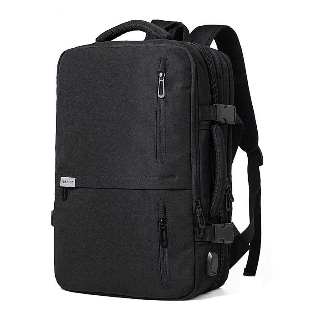 アウトドアバックパックラップトップバックパックスケーラブルスクールカレッジブックバッグ付きusb充電ポート防水用ハイキングスポーツ旅行リュックサック (色 : ブラック) B07S7WGV3J ブラック