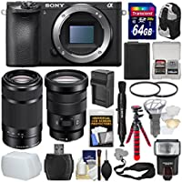 Sony Alpha A6500 4K Wi-Fi Digital Camera Body with 18-105mm f/4 & 55-210mm Lenses + 64GB Card + Backpack + Flash + Battery & Charger Kit